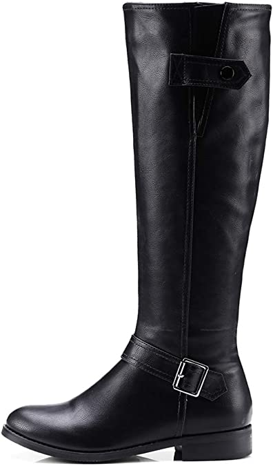 Details about  /Women Knee High Boots Block High Heel Pull On Round Toe Knight Boots Costumes SZ