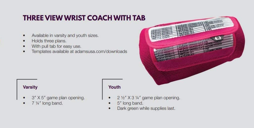 Football Wristband Playbook Triple View With Pull Tab