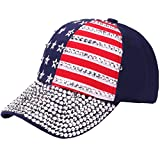 USA Bling Baseball Cap Sparkle American Flag Hat Men Women Hip Hop Caps (Blue 1)