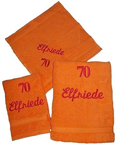 Juego de toallas de mano bordada con nombres 3 piezas Cumpleaños