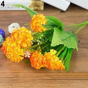 Connoworld--1 Bunch 9 Head Artificial Hydrangea Silk Flower Bouquet Wedding Party Decor - Orange 11