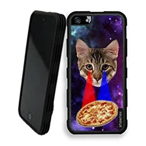 Shawnex Springink Hipster Cat Eying Pizza Nebula Space iPhone 5 Case - Rigid Shell Tough Protective Case iPhone 5 Case
