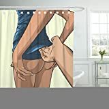 Emvency Fabric Shower Curtain Curtains with Hooks Black Passion Handsome Man Undressing Woman White Sex Bikini Body Caucasian Celebration Charming Chest 72''X72'' Waterproof Decorative Bathroom
