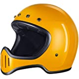 GOHAN(ゴハン) ヘルメット バイクヘルメット オフロード レトロヘルメット フルフェイス オートバイ ジェット 原付き モトクロス レース 公道 耐衝撃 耐久 吸汗 通気 アウトドア ゴーグル付き パラソル 四季 強化ガラス繊维 試合適用 USブランド 販売授権928 男女兼用 DOT認証 (M, イエロー)