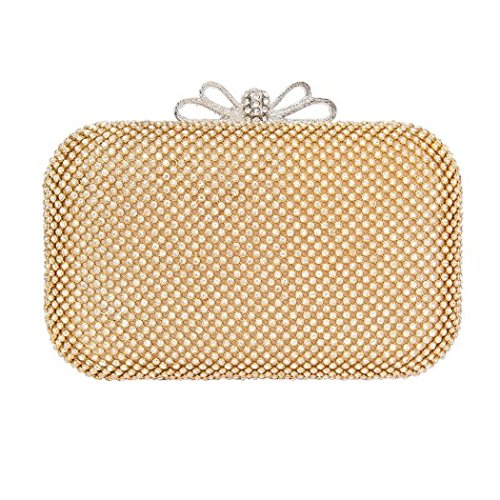 A Bag Clasp Box Crystal Clutch And Party Handbag Gold Chain Bow Prom With Long Shaped wqXnwUZWAt