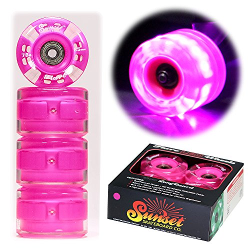 Sunset Skateboards Long Board Wheel with ABEC-9 Bearing (4-Pack), Pink, 65mm/78a ()