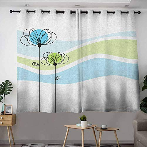 VIVIDX Sliding Door Curtains,Doodle Summer Flowers with Cute Colors and Wave Backgorund Life Season,Curtains for Living Room,W63x45L Apple Green Aqua Avocado Green
