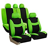 FH Group FB030GREEN115-SEAT Bucket Seat Cover and Bench Cover (Full Set Airbag Compatible with Split Bench Green) FH Group Seat Covers