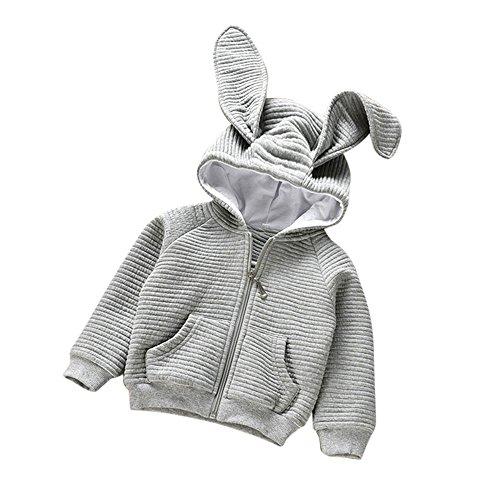 Birdfly Toddler Baby Girl Hooded Textured Bomber Cute Rabbit Ears Jacket Kids Zip-up Coat Outwear (Gray, 5-6T) -