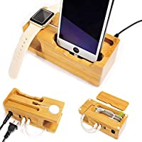 UNCLE JACK Charging Station with Apple Watch and iPhone Charging Dock with Cords Organizer with iPhone (X/8/7/7Plus/6s/6sPlus/6/6Plus/5s)