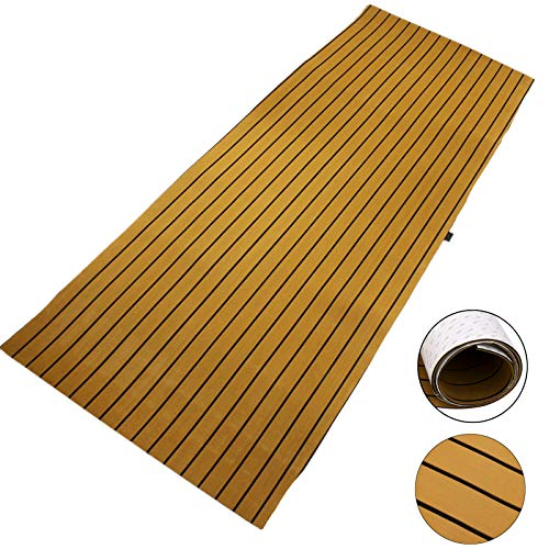 Happybuy Boat Decking Sheet 90.5 X 35.4 Inch 6MM Thick Non-Skid EVA Foam Faux Teak Flooring Boat Decking Self-Adhesive Marine Yacht Decking Sheet (Gold with Black Seam, 90.5
