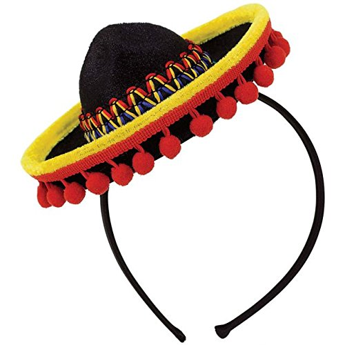 Cinco De Mayo Fiesta Party Black Spanish Hat With Red Ball Fringe Headband Accessories, Plastic, 8
