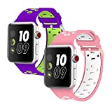 Isenxi for 38mm Watch Band, 2 Pack Soft Silicone Sport Style Replacement Strap for iwatch Series 1 Series 2 Series 3 (38mm-2pack(03))