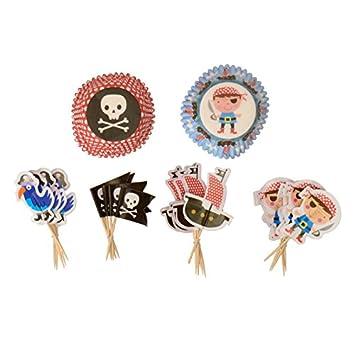 Piratas y corsario Cupcake Juego - corsario Muffin Set Flores: Amazon.es: Hogar