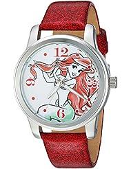 Disney Womens Ariel Quartz Metal Casual Watch, Color:Red (Model: WDS000076)