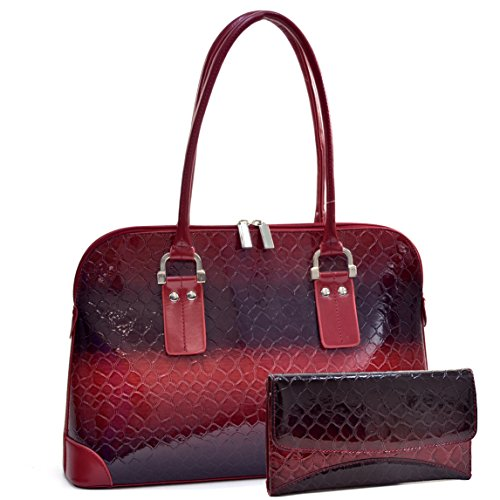 Dasein Women's 2pcs Classic Snack Skin Tote Bag PU Leather Top Handle Handbag Shoulder Bag with Wallet (370-45108 Burgundy + Burgundy (Faux Patent Leather Tote)