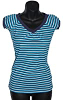 LADIES V-Neck Cap Sleeve Striped T-Shirt