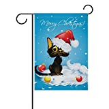 Cheap U LIFE Merry Christmas Cat Garden Yard Flag Banner for Outside House Flower Pot Double Side Print 40 x 28 or 12 x 18 Inch