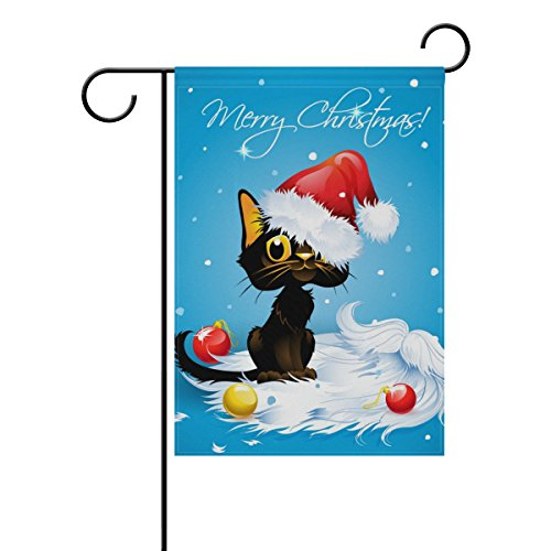 U LIFE Merry Christmas Cat Garden Yard Flag Banner for Outside House Flower Pot Double Side Print 40 x 28 or 12 x 18 Inch