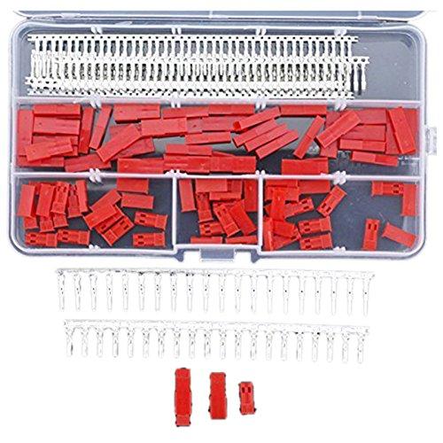 XLX 360Pcs JST SYP 2-Pin Female /& Male Red Plug Housing Crimp Terminal Connector Kit