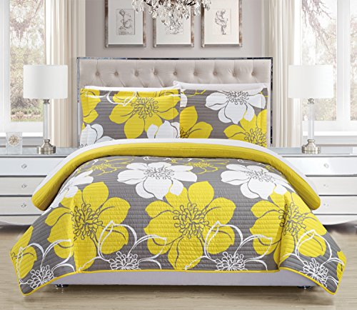 Quilt Floral 2 Shams (Chic Home 3 Piece Woodside Abstract Large Scale Floral Printed Quilt Set with 2 Shams, Queen, Yellow)