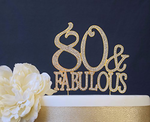 80 & Fabulous Gold Cake Topper