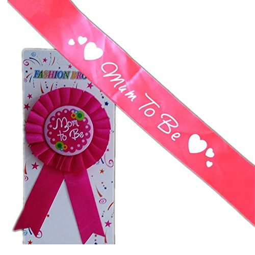 Mom to be Sash Ribbon Award Badge Pins for Baby Shower Mom Party Supplies