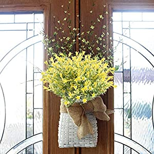 XYXCMOR 4PCS Artificial Lilies Flowers Outdoor Fake Greenery Plants Plastic Faux Floral Bouquet Arrangements Home Office Garden Table Centerpiece Patio Yard Winter Decor Yellow 3