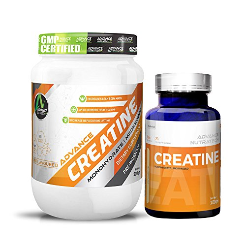 Creatine Monohydrate unflavoured 300 gm & Creatine Monohydrate unflavored 100 gm by ADVANCE NUTRATECH