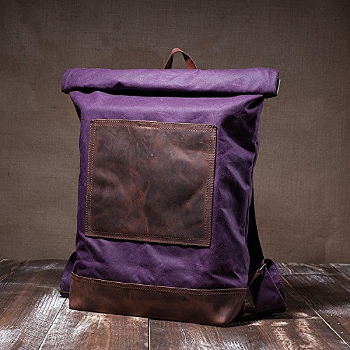 Stylish Handmade Roll Top Backpack - Waxed Canvas & High Quality Leather Straps - Casual Rucksack With Waterproof Lining & Elegant Design - Slim Hipster Caryall - Purple