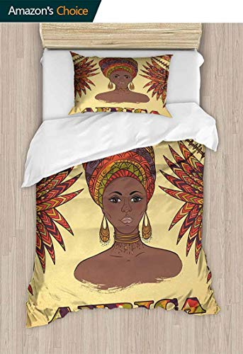 - 3D Bedding Quilt Set, Woman in Traditional Turban and Palms Cultural Folk Graphic Art, Decorative 2 Piece Bedding Set with 1 Pillow Sham,59 W x 78 L Inches, Multicolor