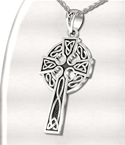 Mens 0.925 Sterling Silver 1.625in Irish Celtic Knot Cross Pendant Antique Finish 3.3mm Rope Necklace, 20in by US Jewels And Gems (Image #3)
