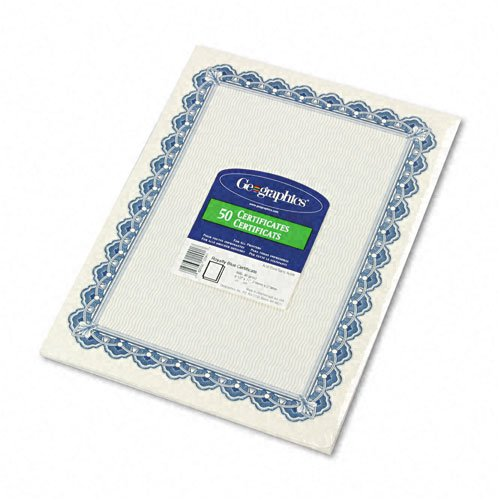 Geographics : Parchment Paper Certificates, 8-1/2 x 11, Blue Royalty Border, 50 per Pack -:- Sold as 2 Packs of - 50 - / - Total of 100 Each
