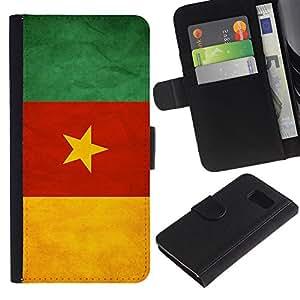 EJOY---La carpeta del tirón la caja de cuero de alta calidad de la PU Caso protector / Samsung Galaxy S6 / --Nacional bandera de la nación País Camerún