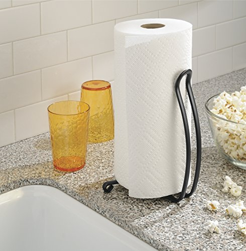 mdesign paper towel holder for kitchen countertops matte black new ebay. Black Bedroom Furniture Sets. Home Design Ideas