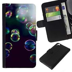 All Phone Most Case / Oferta Especial Cáscara Funda de cuero Monedero Cubierta de proteccion Caso / Wallet Case for HTC Desire 820 // burbujas de color amarillo negro naturaleza púrpura