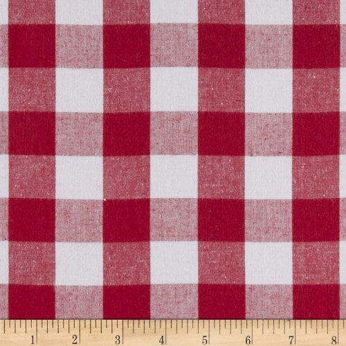 Kaufman Woven 1'' Carolina Gingham Red Fabric By The Yard