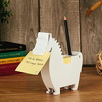 Horse, White Horse Memo Dispenser and Pen Holder Note pad Clip for Note pad Gifts for co-Workers,2 Packs memo