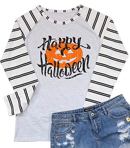 Pumpkin Easy Halloween Costume Tshirt Tee Women Splice Striped Long Sleeve Shirt Letter Print Long Sleeve Top Size L (White) ()