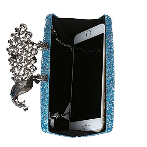 Clutch Evening Rhinestone Pink Prom for Bag Handbags Puluo Sparking Bag Blue Women Cocktail Peacock g6x5qdB