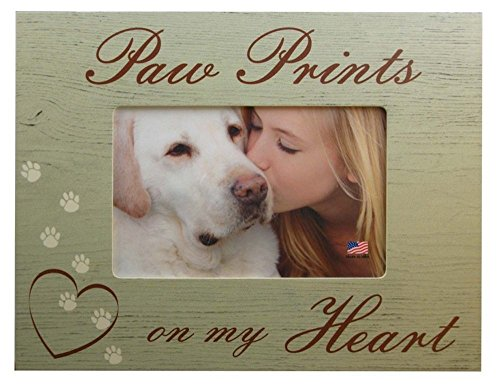 Paw Prints On My Heart Dog Pet Memorial 4x6 Wood Picture Frame ()