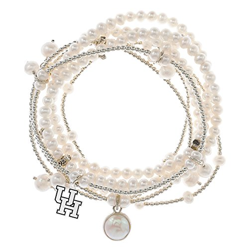 Houston Cougars 7 Strand Freshwater Pearl and Silver Bracelet by College Jewelry