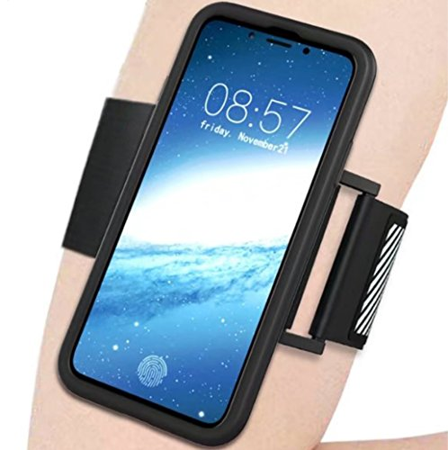 iPhone X Case, 360 Full Edge Armlet Walking Running Arm Band Sling Belt Outdoor Portable Soft Encase Cover IC Card Slot, TAITOU Cool Go Hiking Climb Sports Light Slim Case for Apple iPhone X (Black Armband Carrying Case)