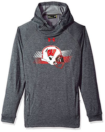 Under Armour NCAA Wisconsin Badgers Mens NCAA Men's French Terry Pull-Over Hood, Large, Carbon Grey Heather