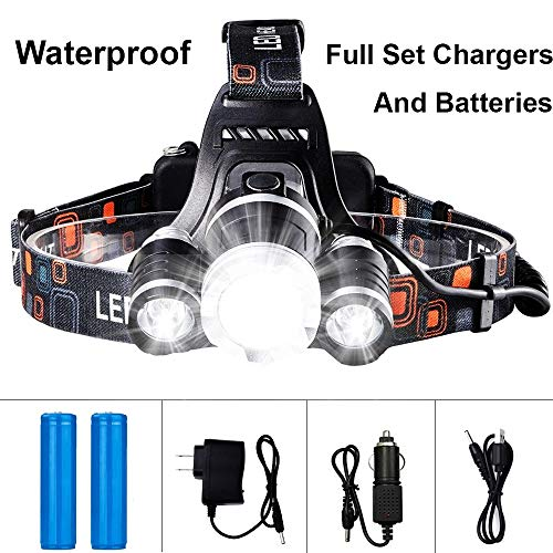 Headlamp Led Tikka 3 (Waterproof Led Headlamp 13000 Lumen Powerful Led Headlight + 2 (18650) Rechargeable Batteries + Wall Charger + USB Charger + Car Charger Perfect for Fishing Hunting Outdoor Activities)