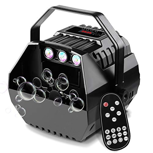 CrtWorld LED Bubble Machine For Kids Bubbles Blower With LED Screen Operation Or Wireless Remote Control, Adjustable Speed Levels, Powered by Plug-in or Batteries, Indoor/Outdoor Use