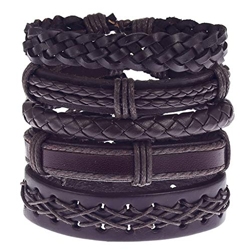 WELCOMEUNI Men Simple Vintage Woven Leather Jewelry Wedding Bracelets Alloy Guitar Leather Bracelet Set ()