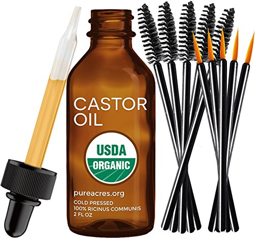 Pure Castor Oil for Eyelashes, Eyebrows, Hair Growth, Skin and Face , 2 oz (60ml)