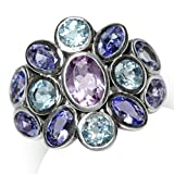 Natural Amethyst, Tanzanite & Blue Topaz 925 Sterling Silver Cluster Cocktail Ring