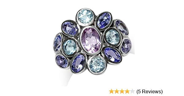 Silvershake Natural Amethyst Tanzanite and Blue Topaz White Gold Plated 925 Sterling Silver Cluster Cocktail Ring